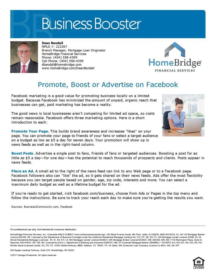Promote Boost or Advertise on Facebook. Dean Bendall