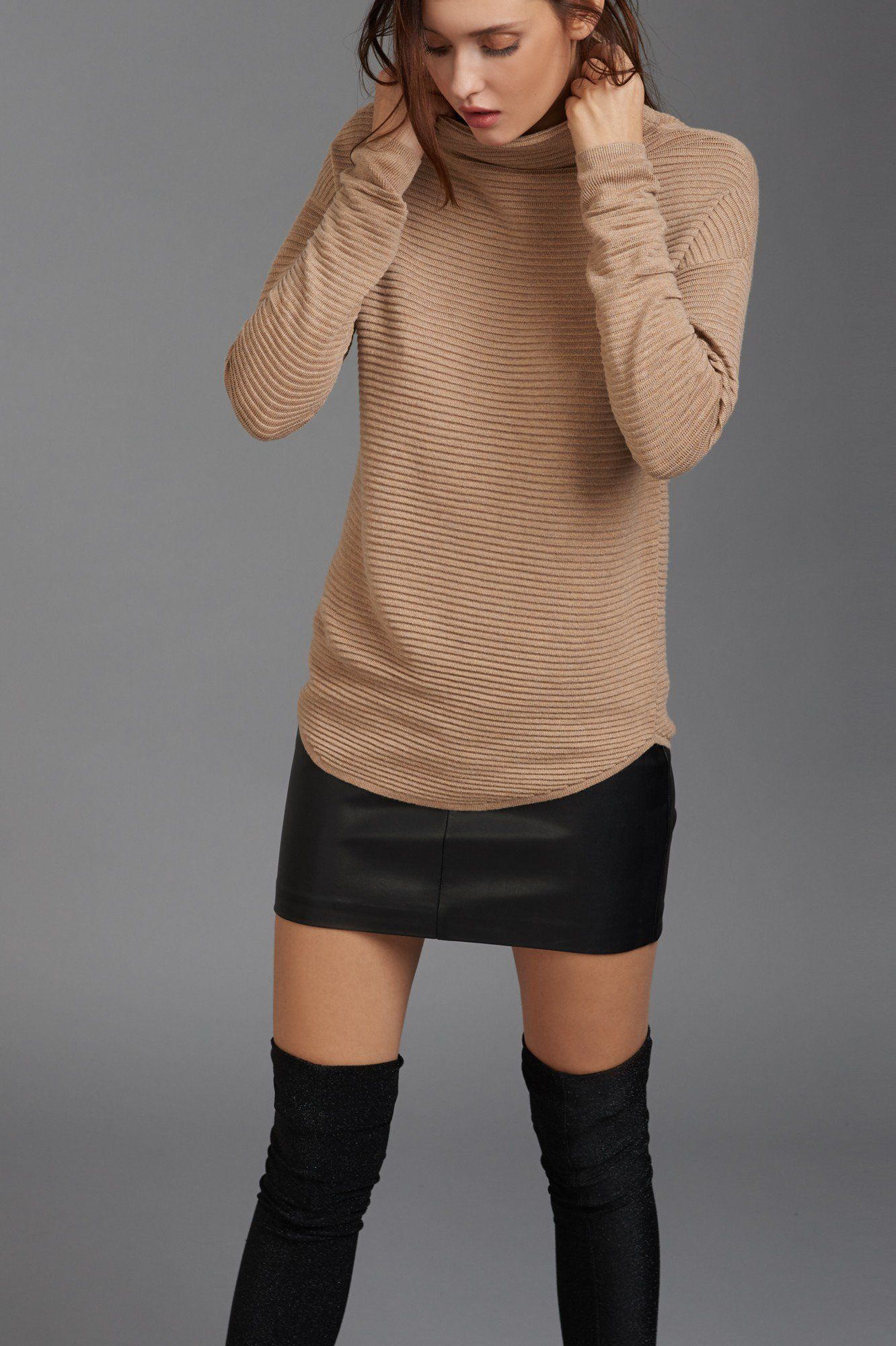 aa56dfda893 Ribbed Cowl Neck Sweater