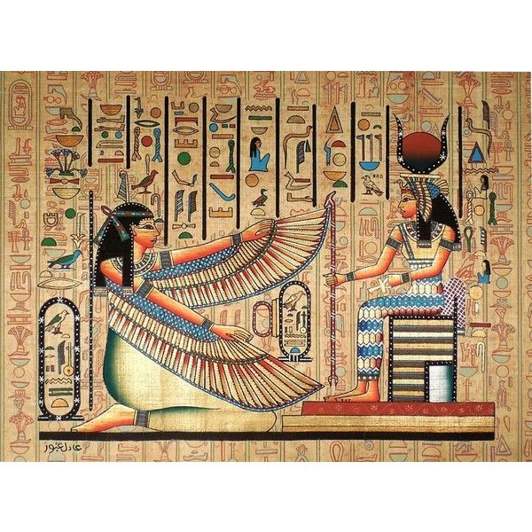 Maat and isis ancient egyptian papyrus painting liked on for Egyptian mural art