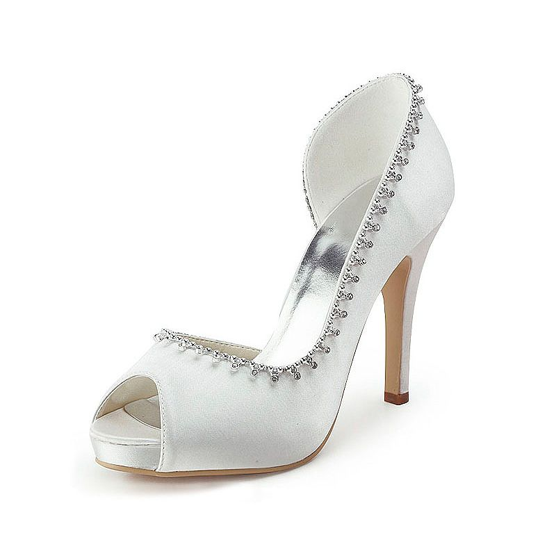 21e74530c667 Peep Toes High Heel Satin Bridal Shoes with Rhinestone Shoes Size 35 36 37 38 39 40 41 42Shoes  Color White Ivory Champagne Gold Pink Red Royal ...