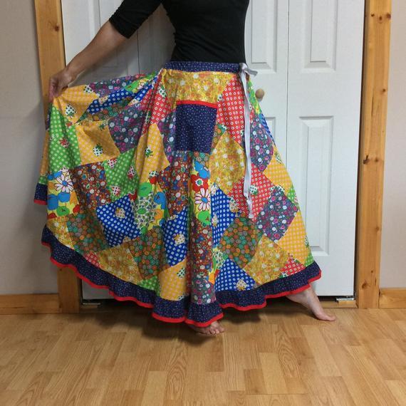 790f25d66 RESERVED Hippie Patchwork Skirt Plus Size Vintage Long Skirt XL-1X-2X-3X  Festival Clothes Cotton Ful