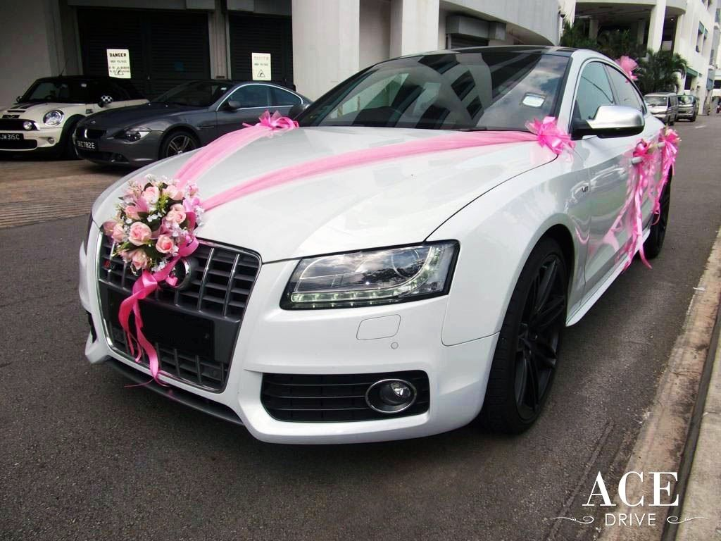 pink wedding car | White Audi S5 Wedding Car Decorations ...