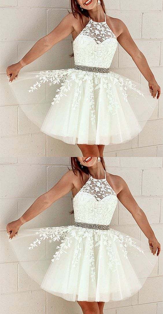 Elegant Tulle Homecoming Dresses Lace Embroidery Cross