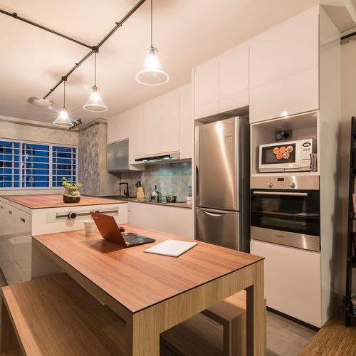 Kitchen Island And Dining Table In 3 Room Flat Kitchen Renovation Design Kitchen Design White Kitchen Living Room