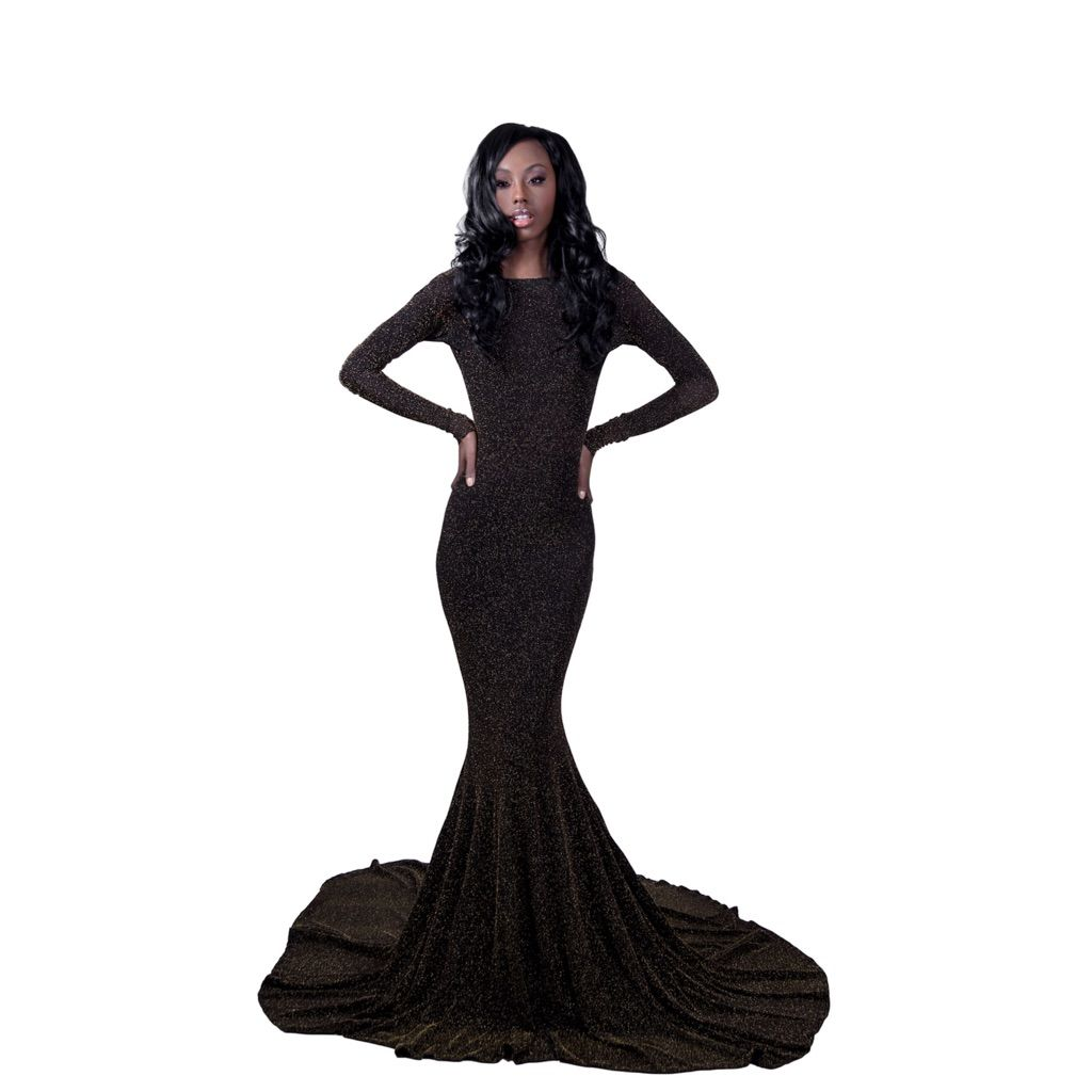 Glitter black prom dress with train black prom dresses and products