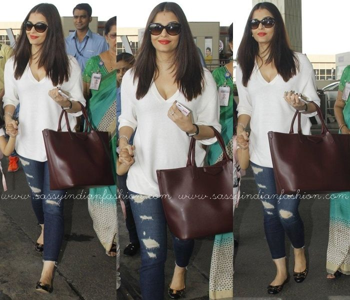d4b65dc28dfc41 Aishwarya Rai in Distress Denim and Sweatshirt | Celebrity Pants ...