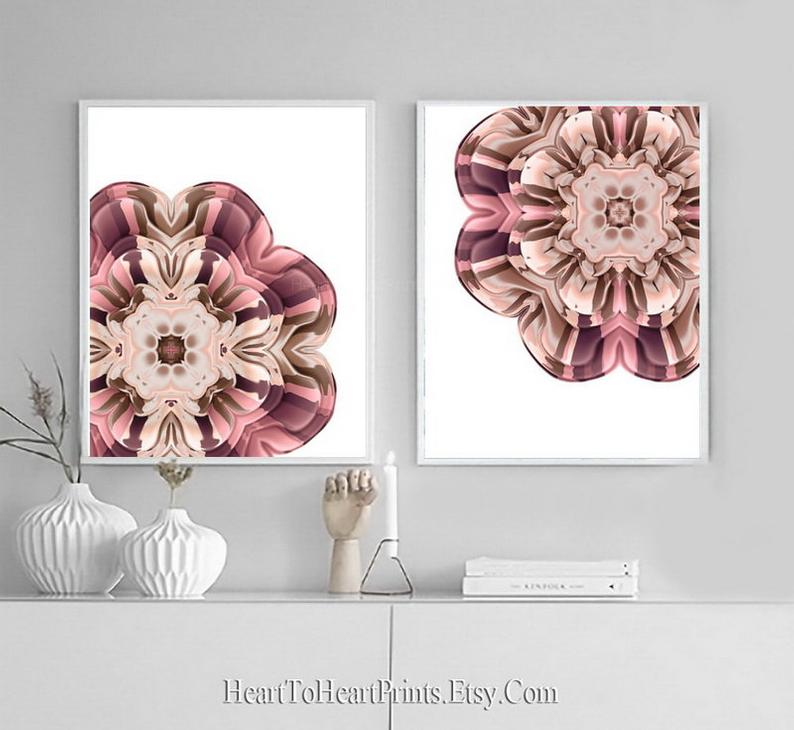 Rustic Floral Wall Art Set Of 2 Prints Pink Blush Brown Rustic Etsy Rustic Floral Wall Art Floral Wall Art Pink Grey Wall Art
