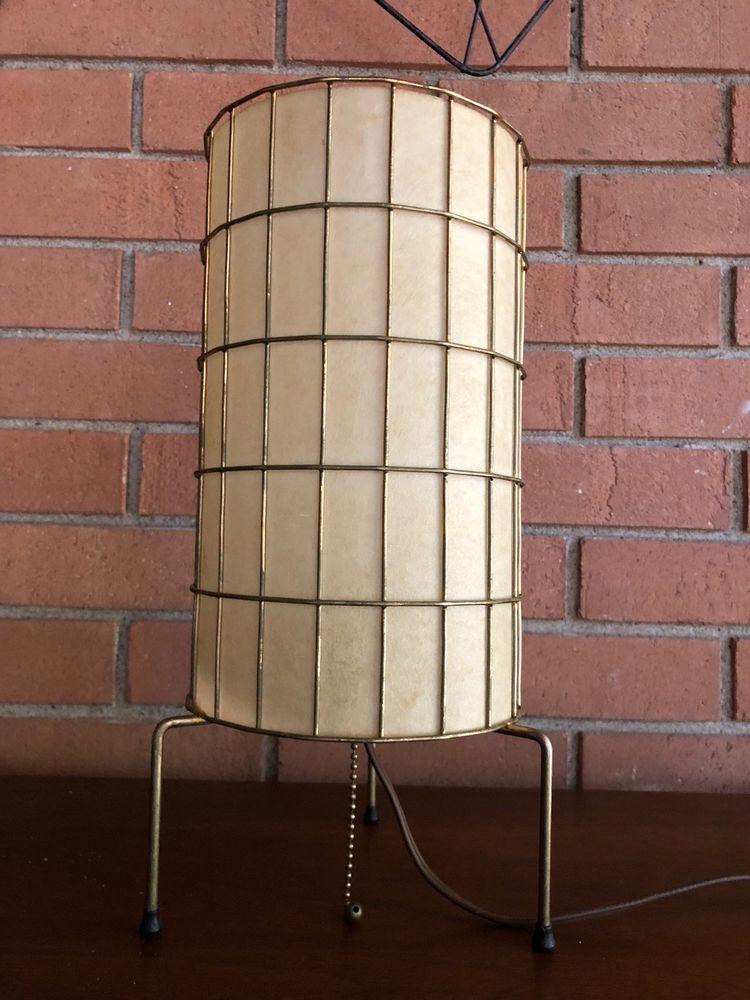 Vintage Weinberg Wire Cage Lamp Fiberglass Shade Mid Century Modern 50s Lamp Caged Lamp Fiberglass