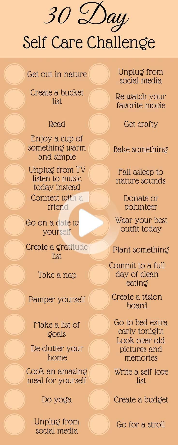 30 Day Self Care Challenge in 2020 Self confidence tips