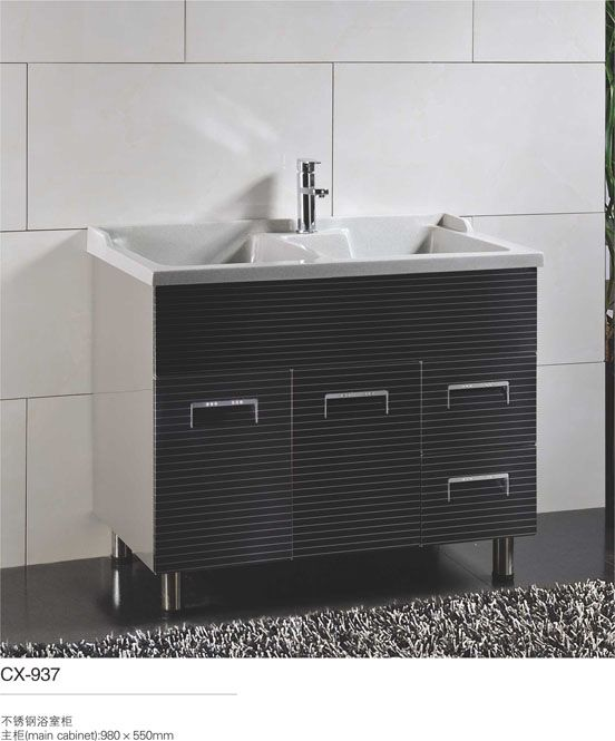 40inch Bathroom Wash Basin Cabinet Stainless Steel Material Bathroom Floor Cabinets Stainless Steel Bathroom Bathroom Flooring