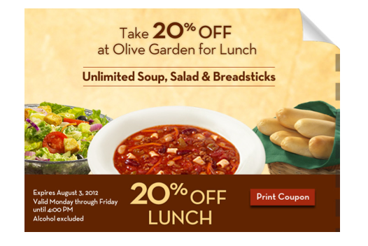 free printable coupons olive garden coupons - Olive Garden Unlimited Soup And Salad