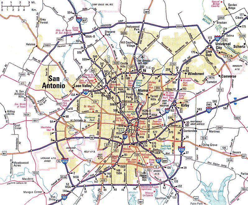 san antonio street map | Map of San Antonio in Texas Area ...