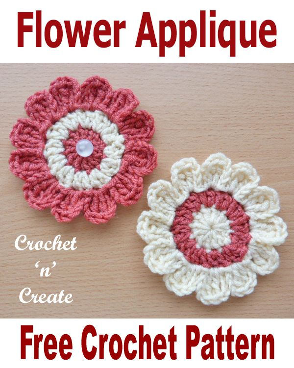Free Crochet Pattern Flower Applique Jans Homemade Things