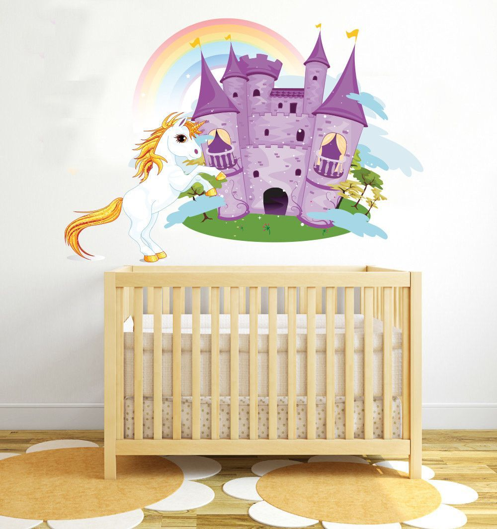 Unicorn Horse Castle Rainbow Wall Decal | Products | Pinterest ...