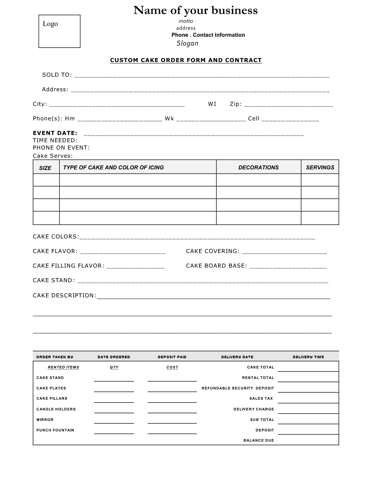 Cake Order Contract  Event Order Form And Contract  Cake Order