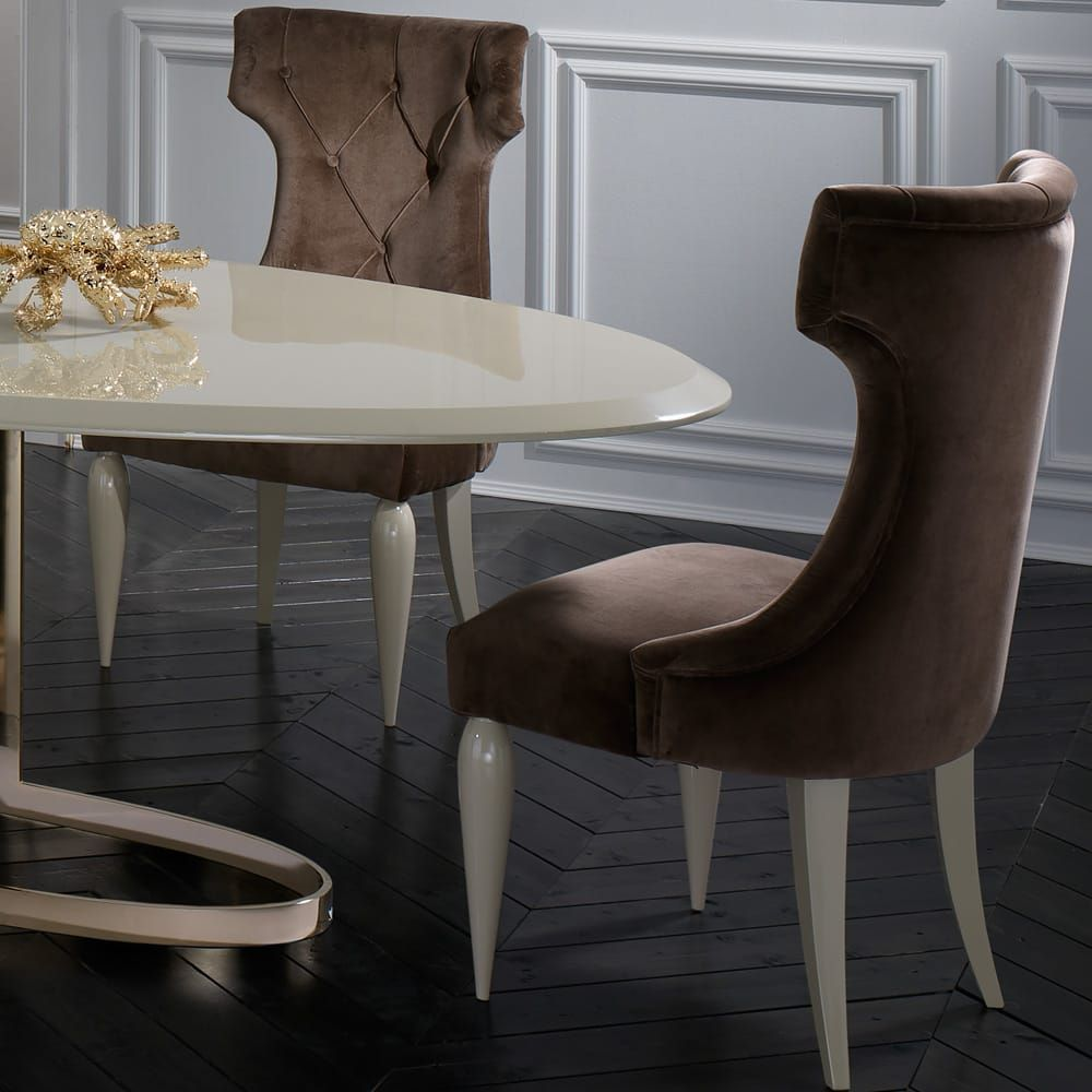 Italian Designer Lacquered Gold Oval Dining Table Set Dining