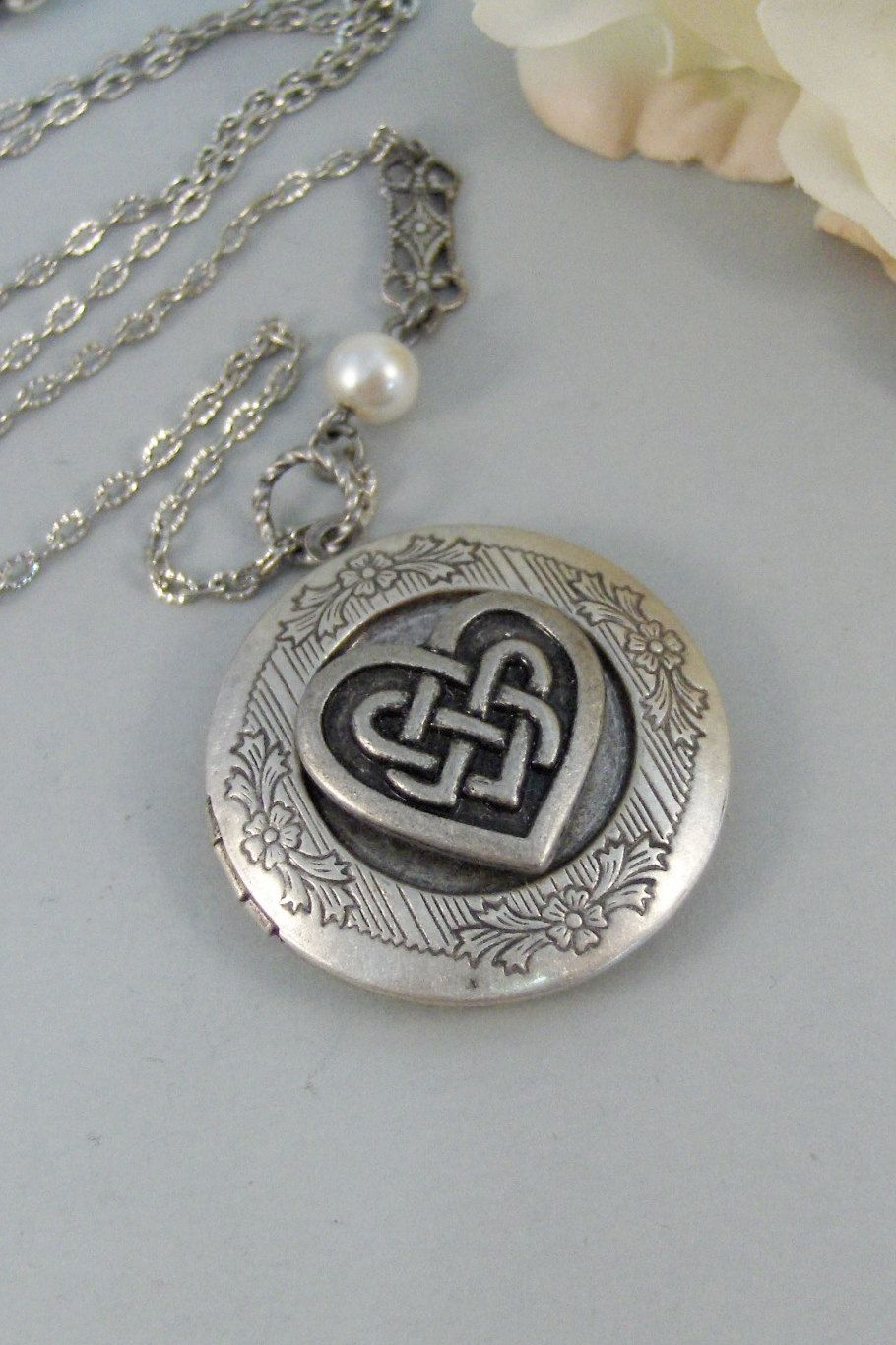 Celtic heartlocketsilver locketceltic locketheart antique