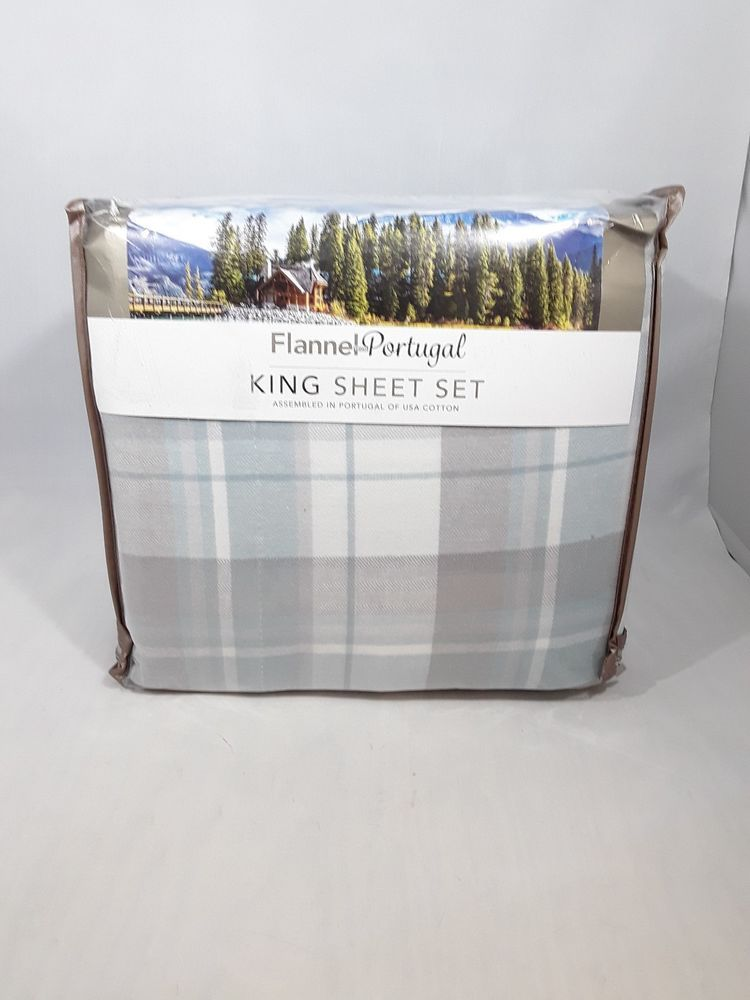 Flannel From Portugal King Sheet Set Blue Grey 4 Piece Flannel