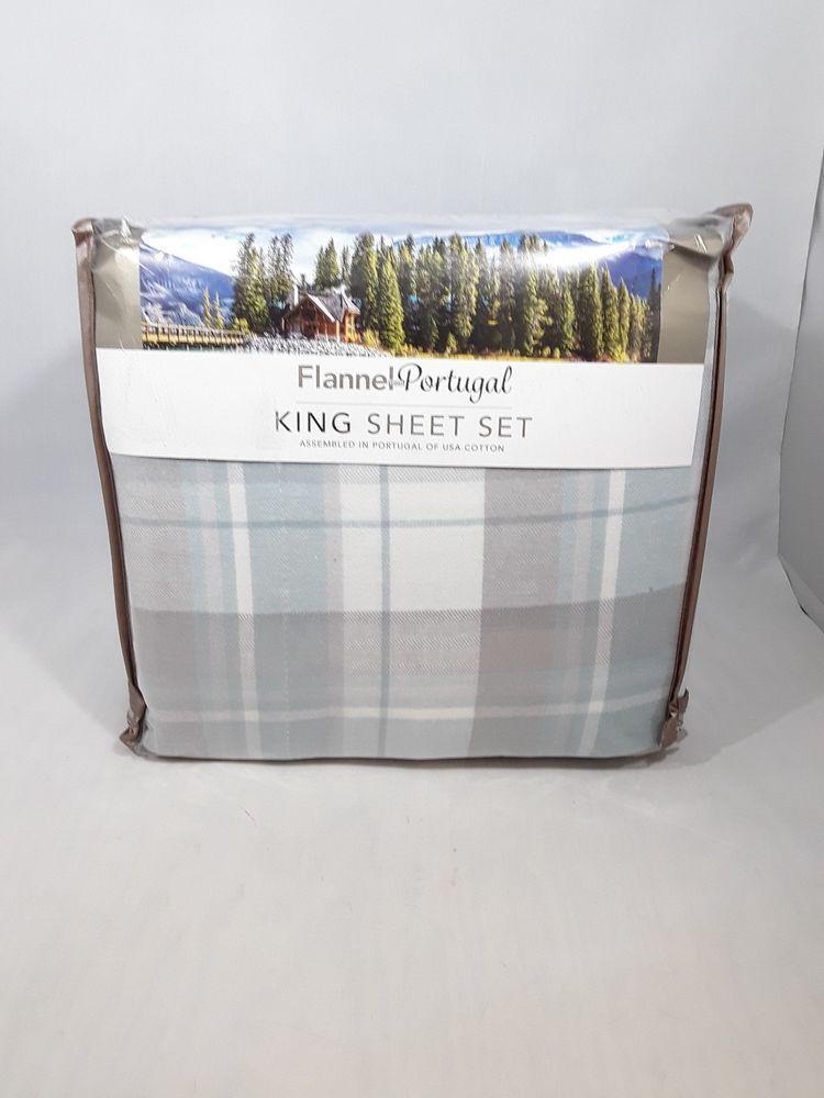 Flannel From Portugal King Sheet Set Blue Grey 4 Piece Flannel Sheet Set Costco King Sheet Sets Sheet Sets Flannel