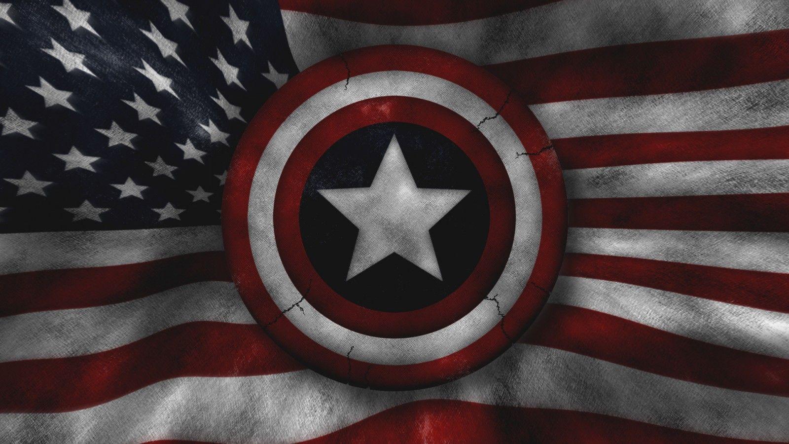 american flag with captin america Description