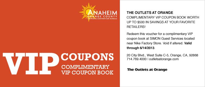 Vip Coupon Book For Outlets At Orange In Orange Ca