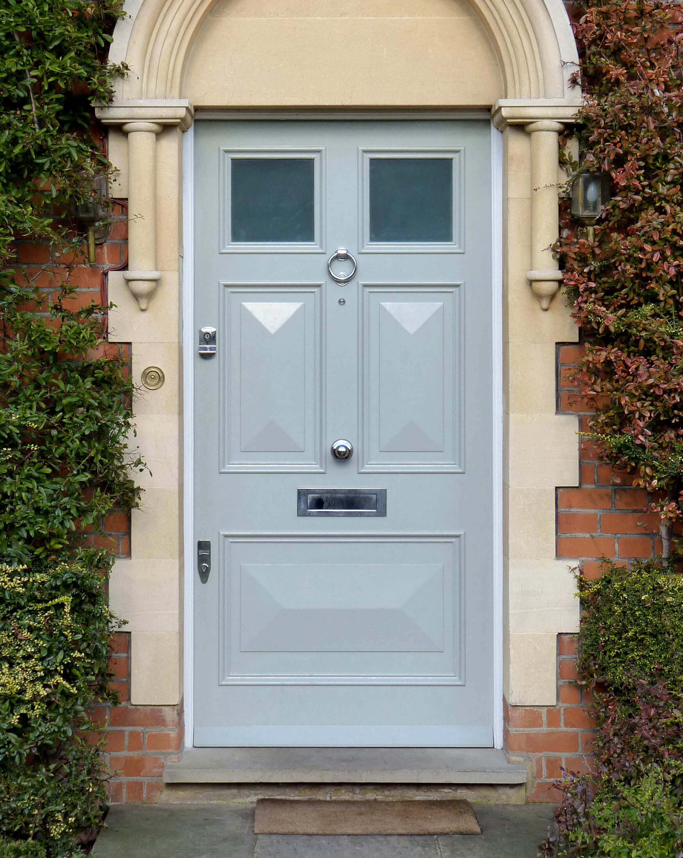 Georgian Door With Hand Painted Finish In A Contemporary Shade Decorative Opaque Glazed Panels And Chrome Georgian Doors Victorian Front Doors Front Doors Uk