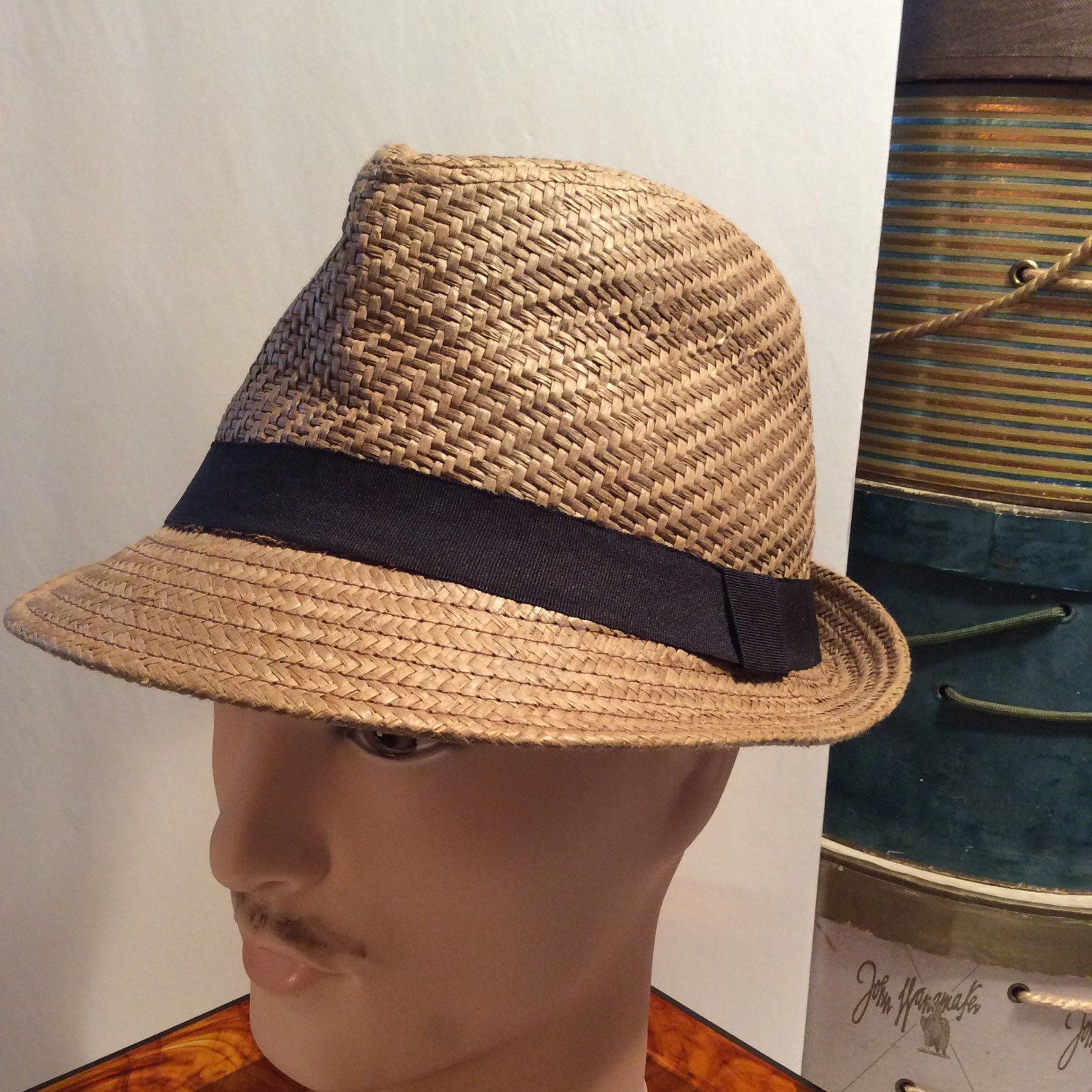 20% OFF SALE Vintage Milani Natural Straw Fedora Hat Italy  ad95a7cccf2