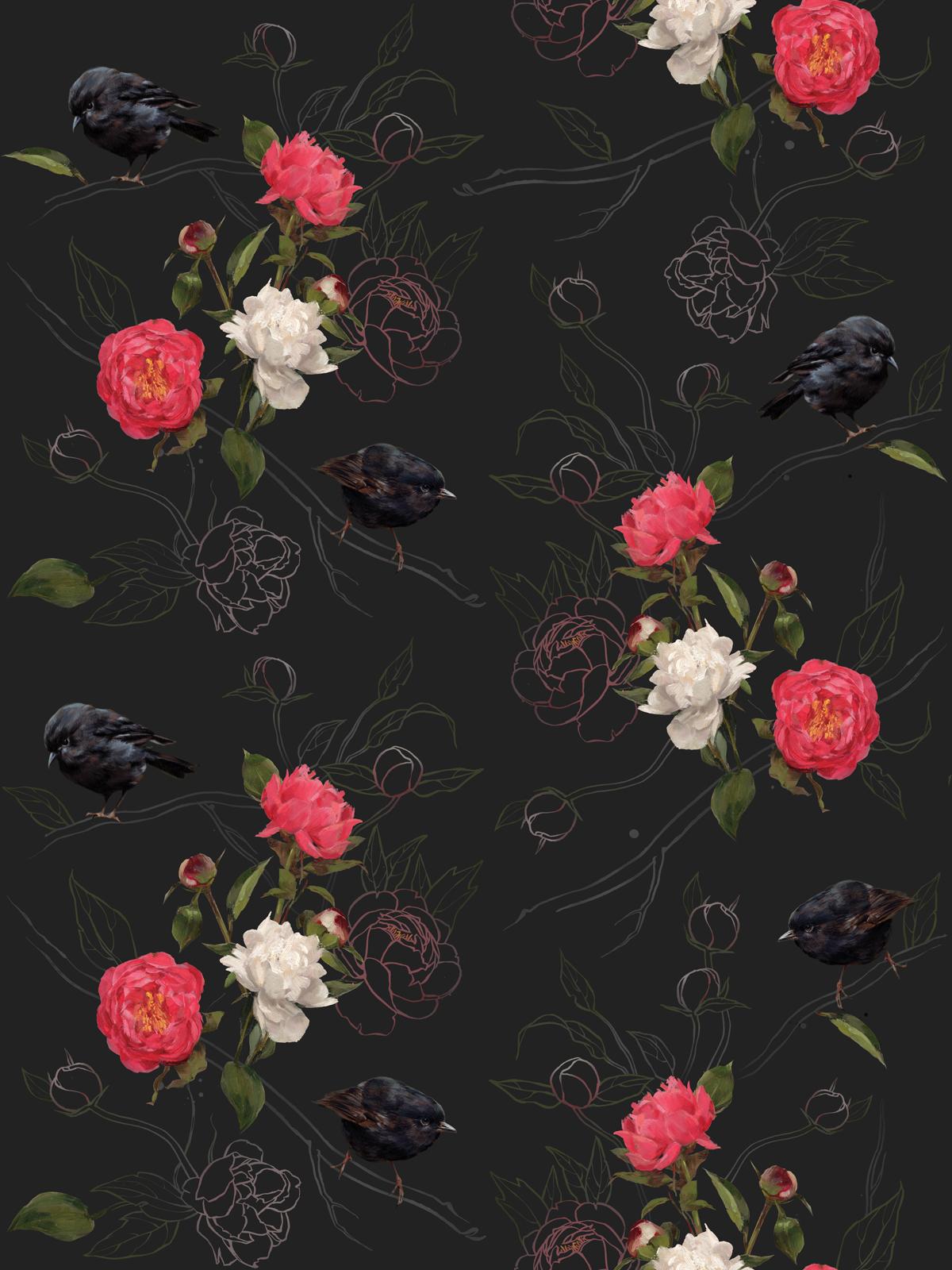 HALF FULL Black Robin I Deep Bloom Wallpaper, Flower