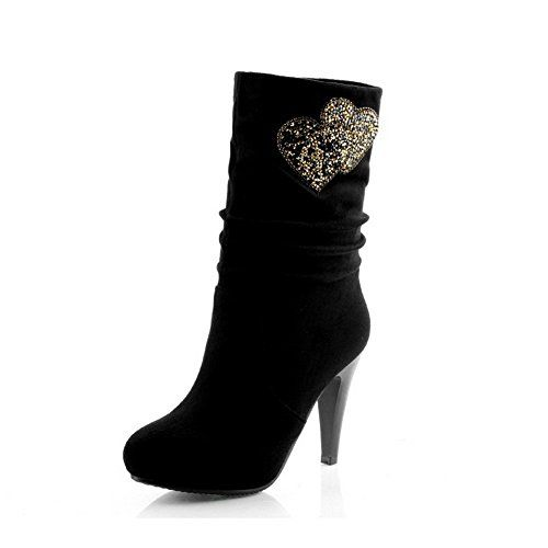 VogueZone009 Womens Closed Round Toe High Heel Platform PU Frosted Solid Boots with Rhinestones