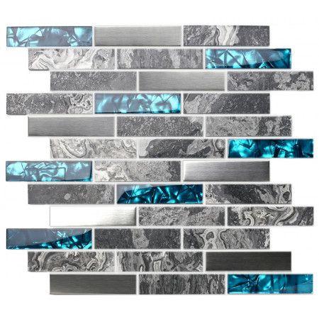 Gray Marble Backsplash Tile Teal Blue Glass Mosaic Interlocking 304 Brush Stainless Steel Kitchen Tile Accent Wall Grey Glass Tiles Glass Tile