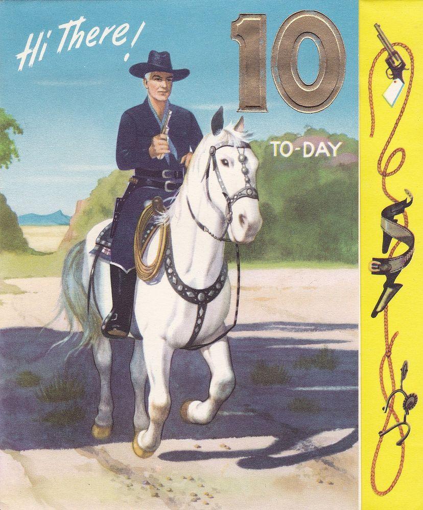 Rare Vintage Hopalong Cassidy 10th Birthday Card Trade Mark William