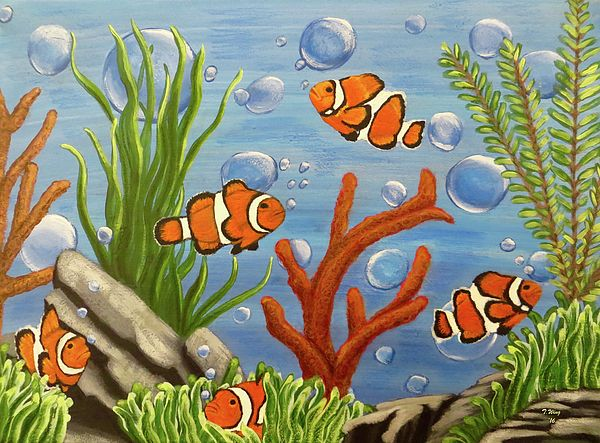 Clowning Around By Teresa Wing Fish Painting Acrylic Painting Canvas Underwater Painting
