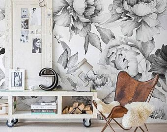 White Peony Removable Wallpaper Peonies Wall Mural Black And White Peony Wallpaper Peel And Stick Wa Removable Wallpaper Peony Wallpaper Temporary Wallpaper