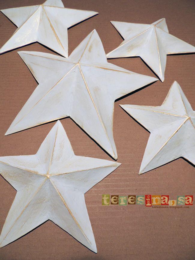 Decorar Estrellas De Navidad En Cartulina.Estrellas De Papel Mache Estrellas Estrellas De Papel