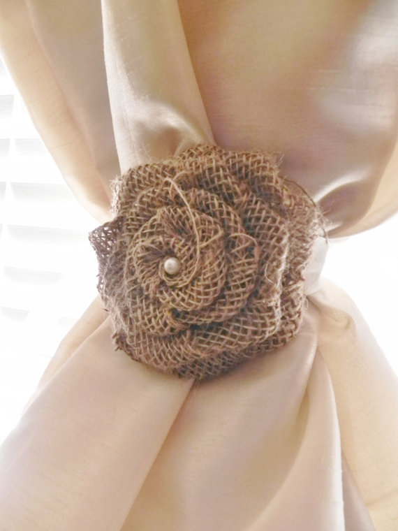 Burlap Rose Curtain Tie Back Choose Your Size And Color Rustic