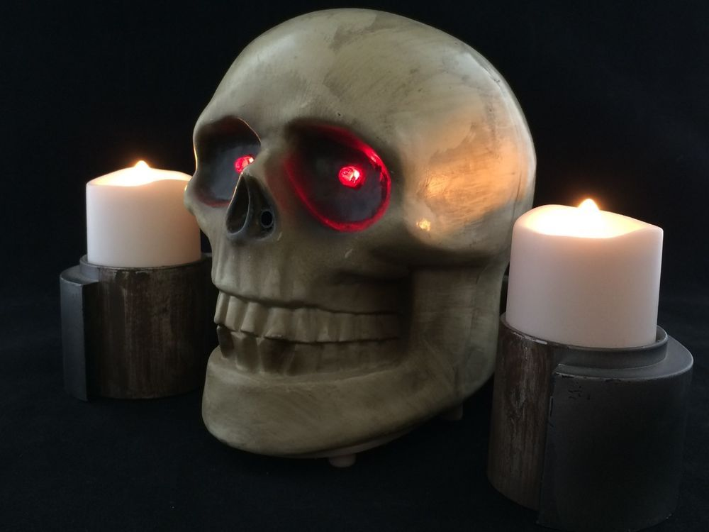 animated fright lights gemmy halloween prop talking skull candles sound motion - Talking Skull Halloween