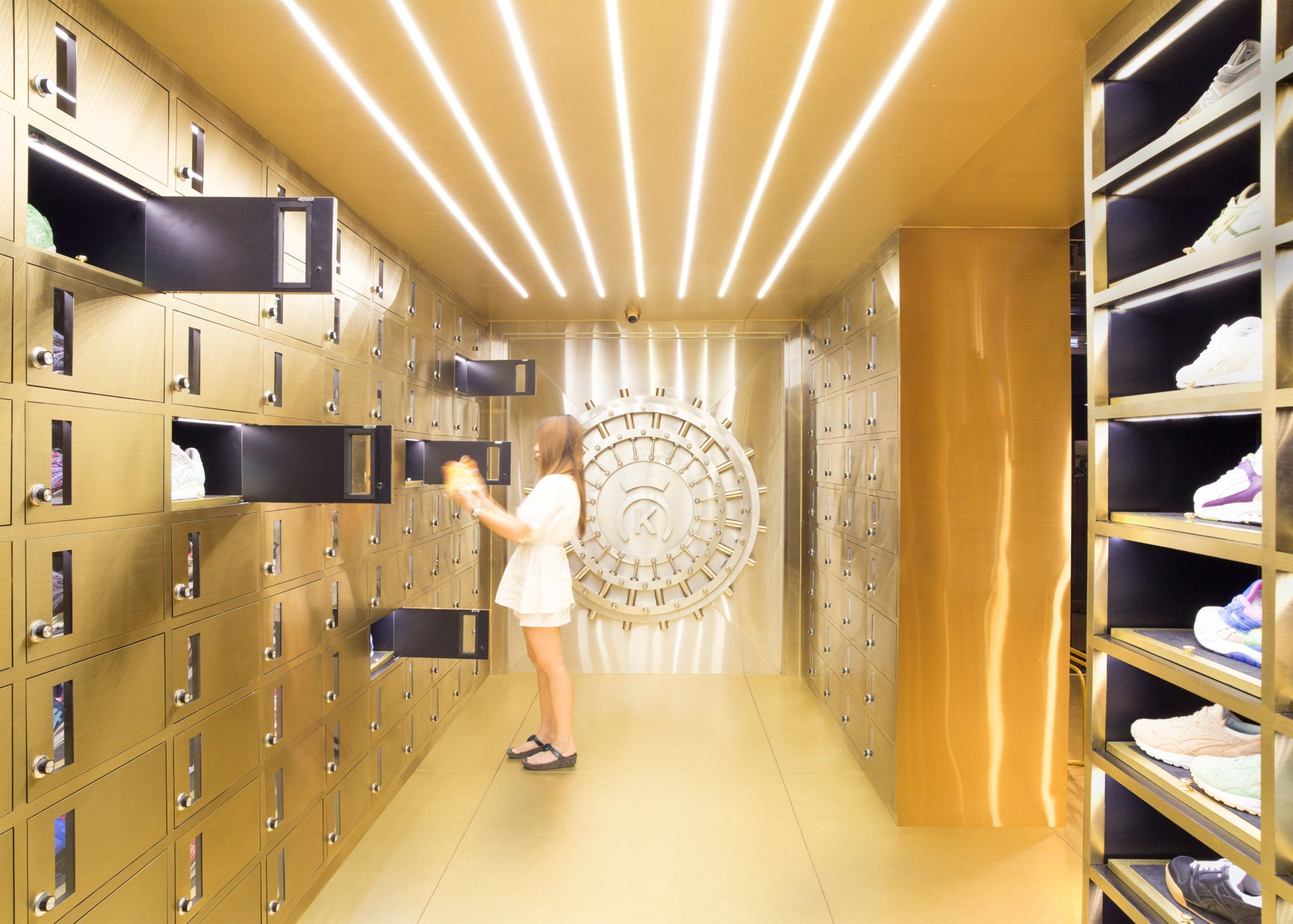Safety Deposit Boxes Function As Display Cabinets In This Bangkok Shop For Spanish Footwear Brand 24 Kilates Retail Design Retail Store Design Store Design