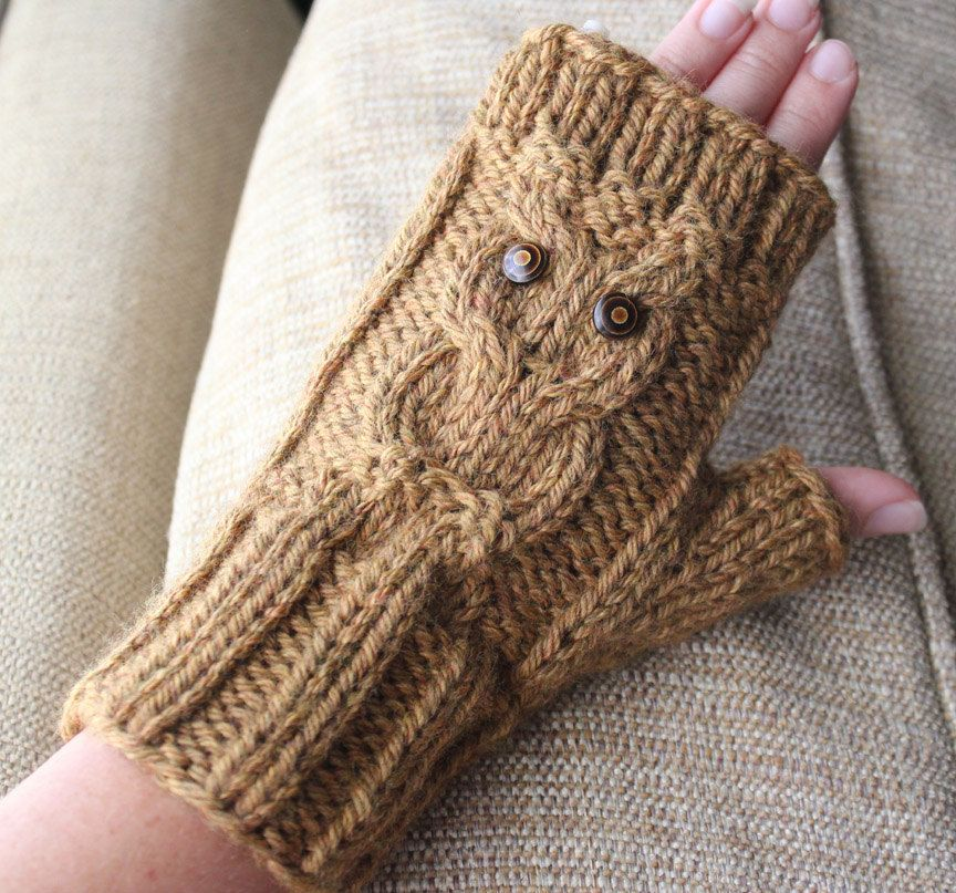 Snowy Owl Knitting Pattern : Cable Owl Gloves - Fingerless Gloves Knitting Pattern. USD4 ...