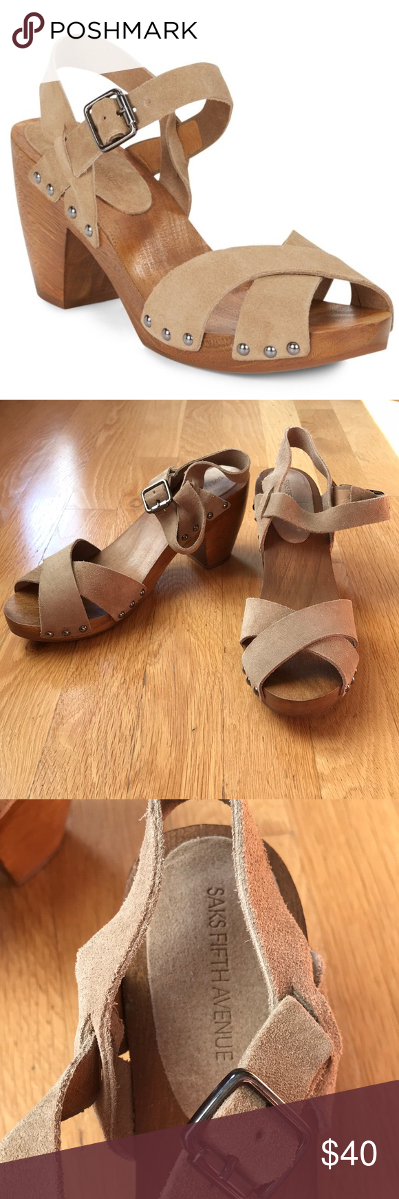 988aa946901b5 Saks Fifth Avenue Boston Suede   Wood Clog Sandals Saks Fifth Avenue Boston  suede   wood clog sandals in excellent condition. Only worn once.