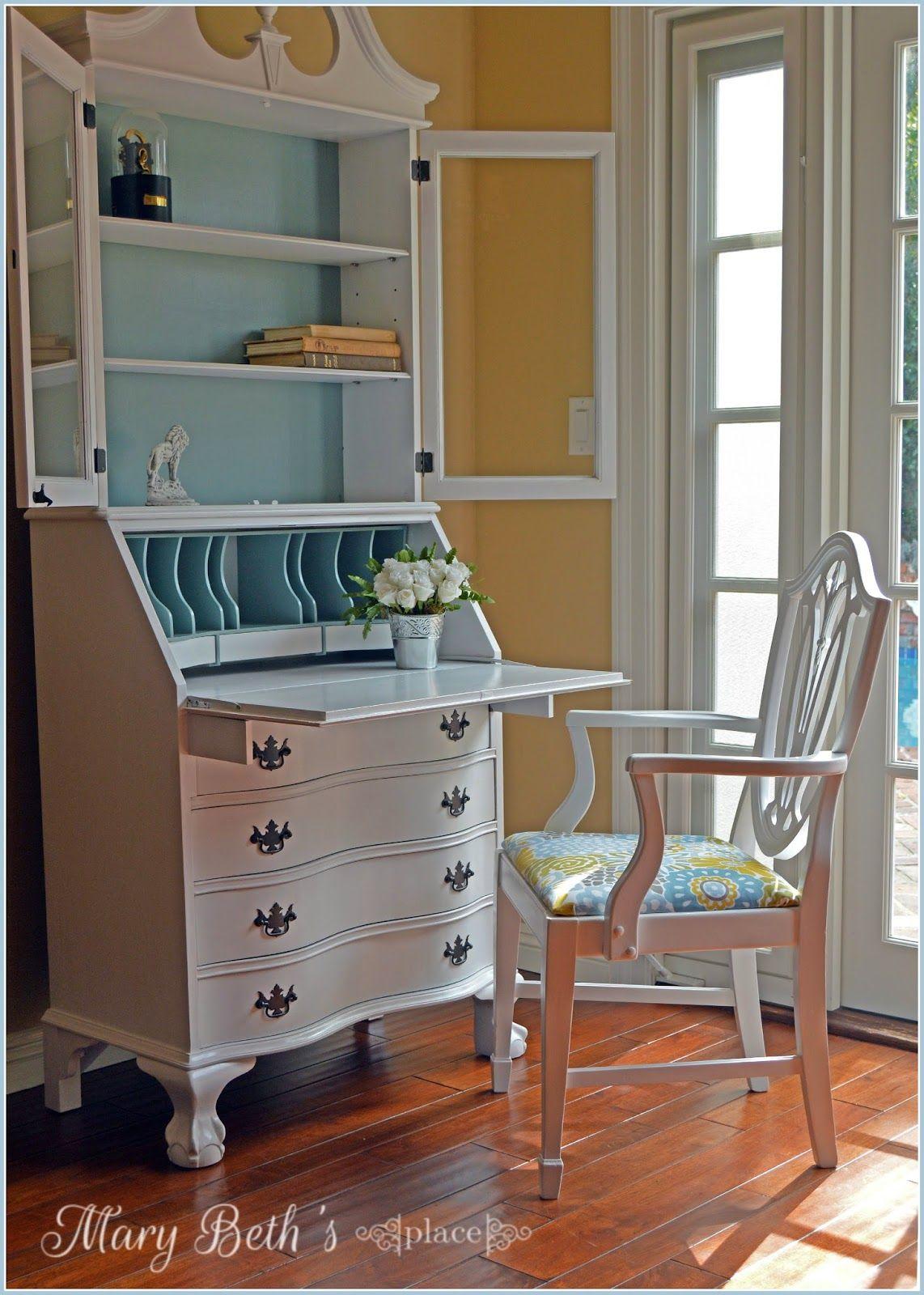 A Fresh New Look For A Secretary Desk Furniture Makeover Furniture Painted Secretary Desks