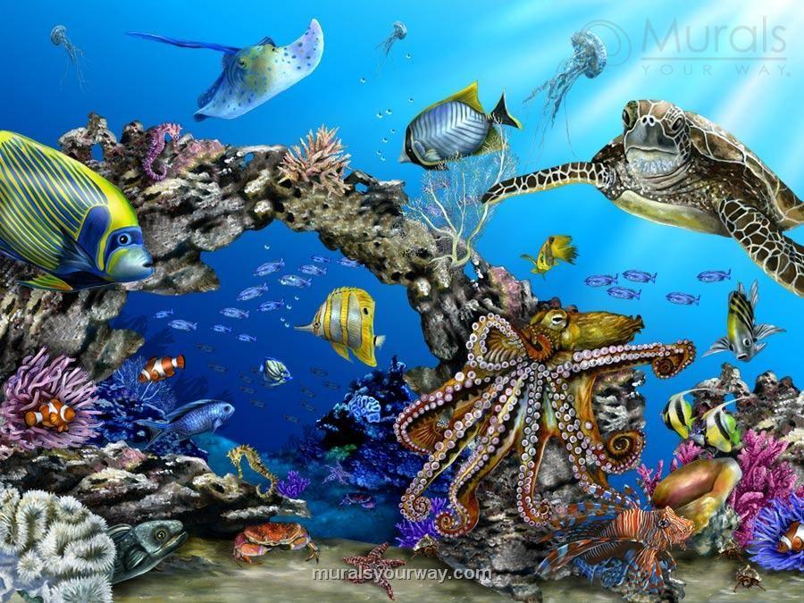 Asian underseathemed nursery wall mural idea undersea