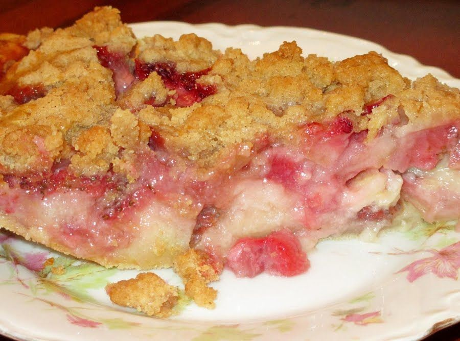 Strawberry Rhubarb Cream Pie Recipe Rhubarb Recipes Cream Pie Recipes Rhubarb And Custard