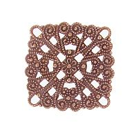 Antique Copper Plated Filigree Square Link/Connector, 28mm