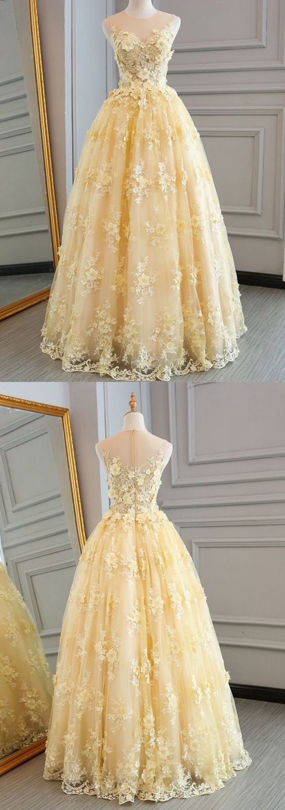Long prom dresses scoop aline floorlength lace sexy yellow prom