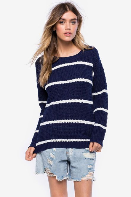 Striped Round Neck Pullover