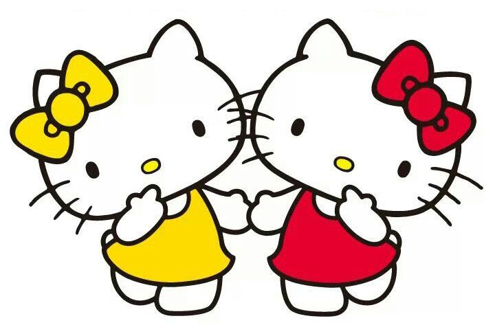 Hello Kitty (red) and her twin sister Mimmy (yellow ...