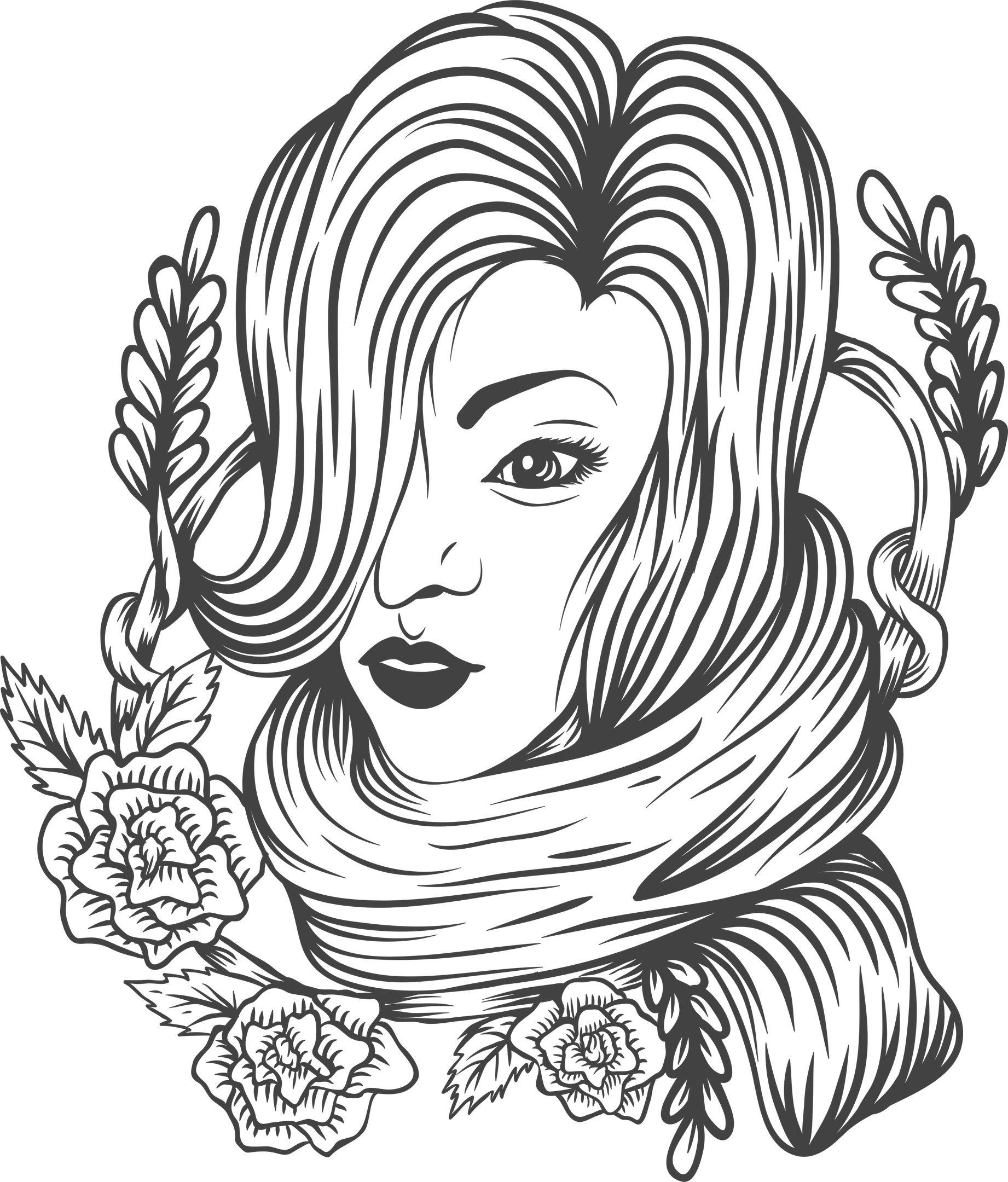 Woman Flower Decor Free Vector cdr Download Flower