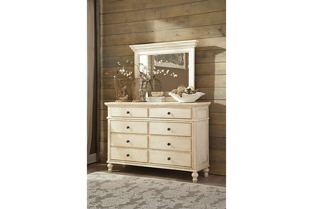 White Marsilona Dresser and Mirror View 1 | Mirrored ...