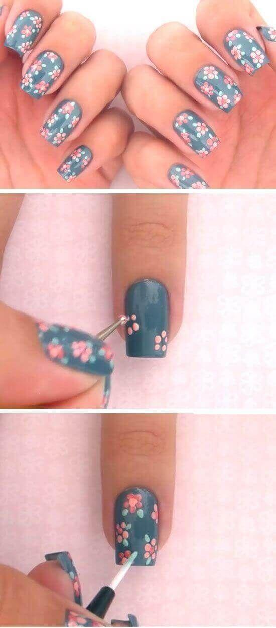 Tutoriales Uñas Decoradas Faciles Con Flores Nails Pinterest
