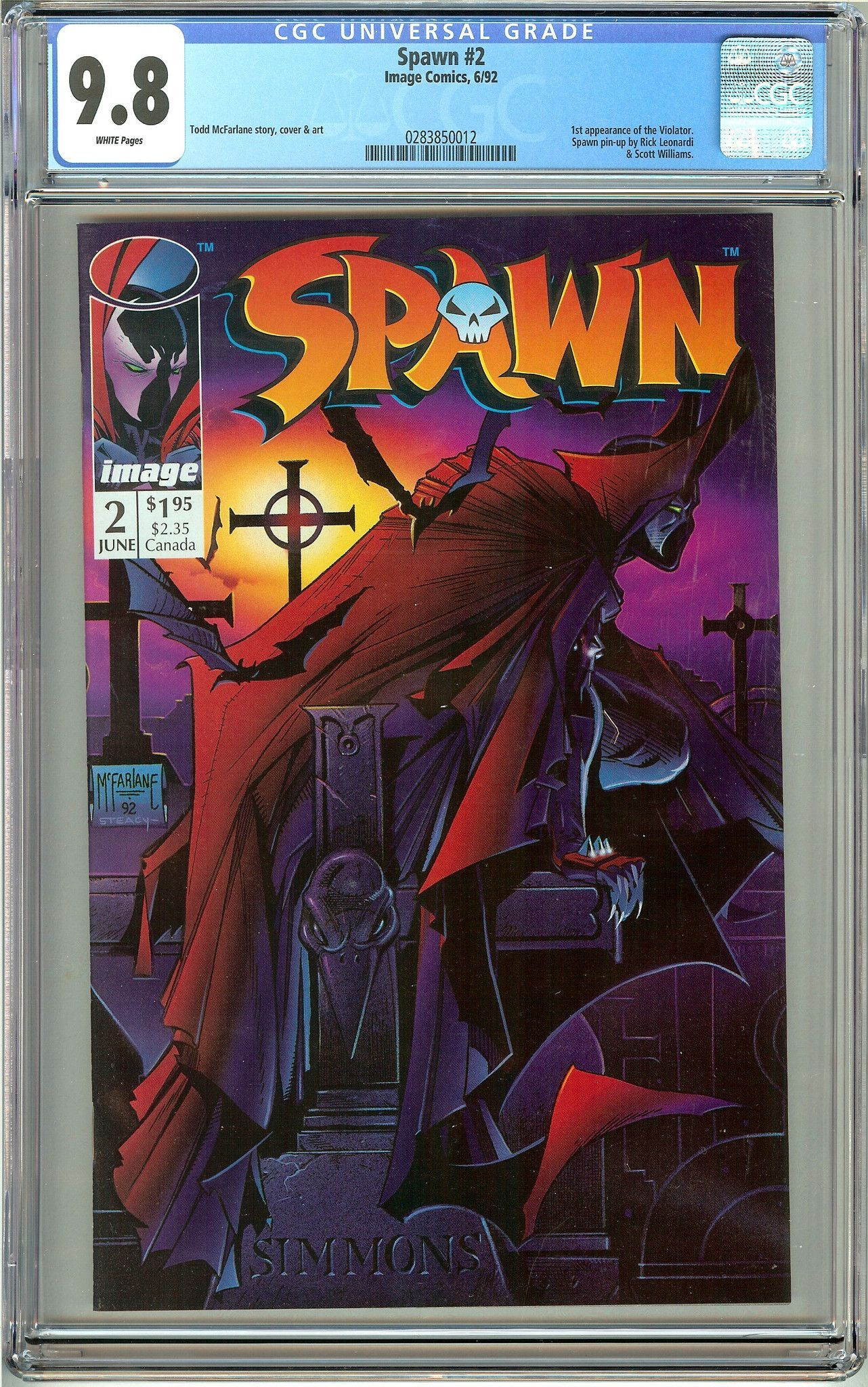 Spawn #2 (1992) CGC 9.8 White Pages 0283850012